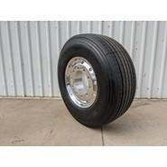 11.75x22.5 10/335 Alcoa Polished Supersingle Alloy Wheel on 385/65R22.5 Bridgestone R-Steer 001 - VOLVO Only